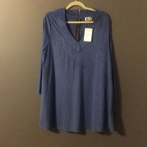 NWT Blue Bell Sleeve Suede Dress